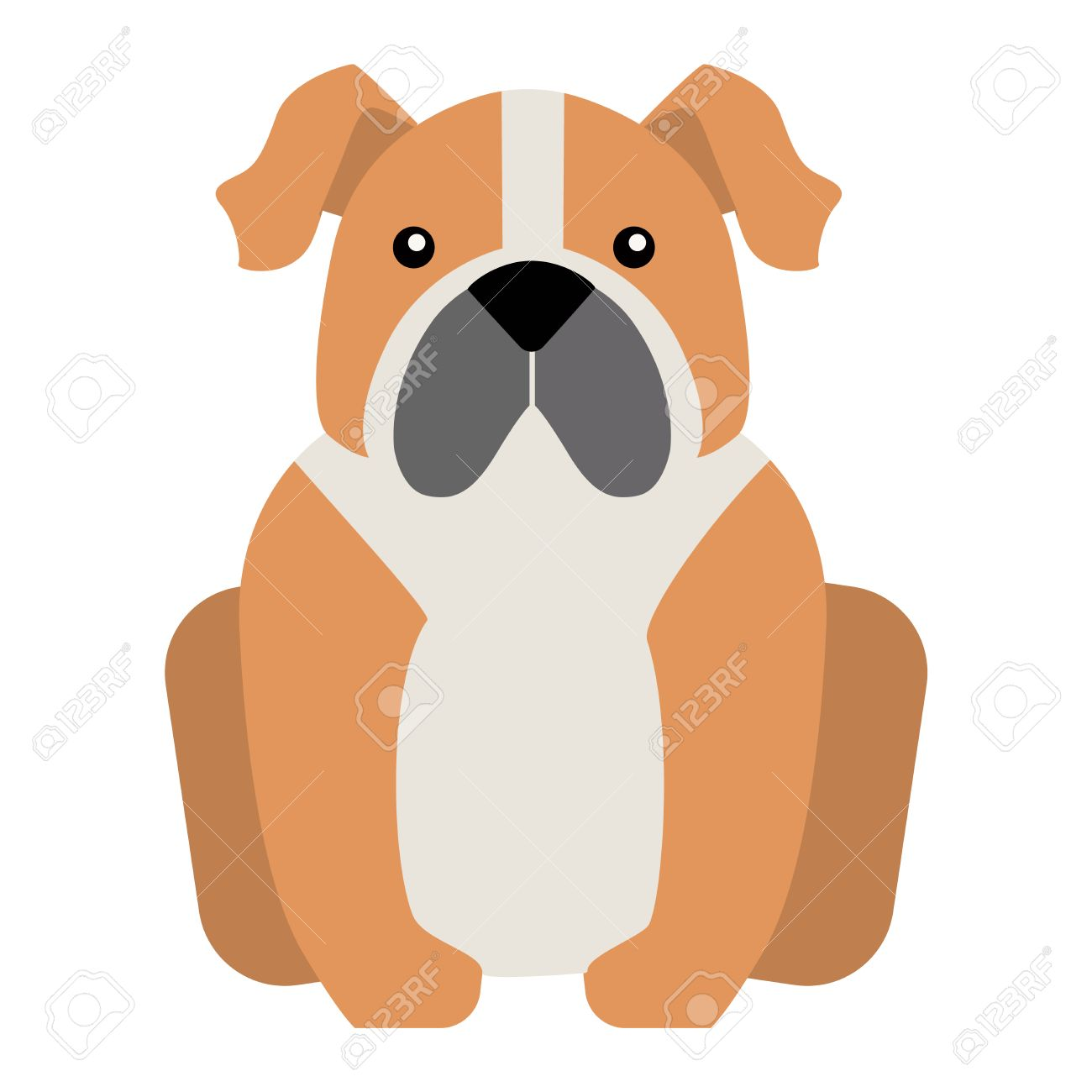 Flat Dog Pet Sitting Cute Dog Vector Flat Dog Animal Pet Vector