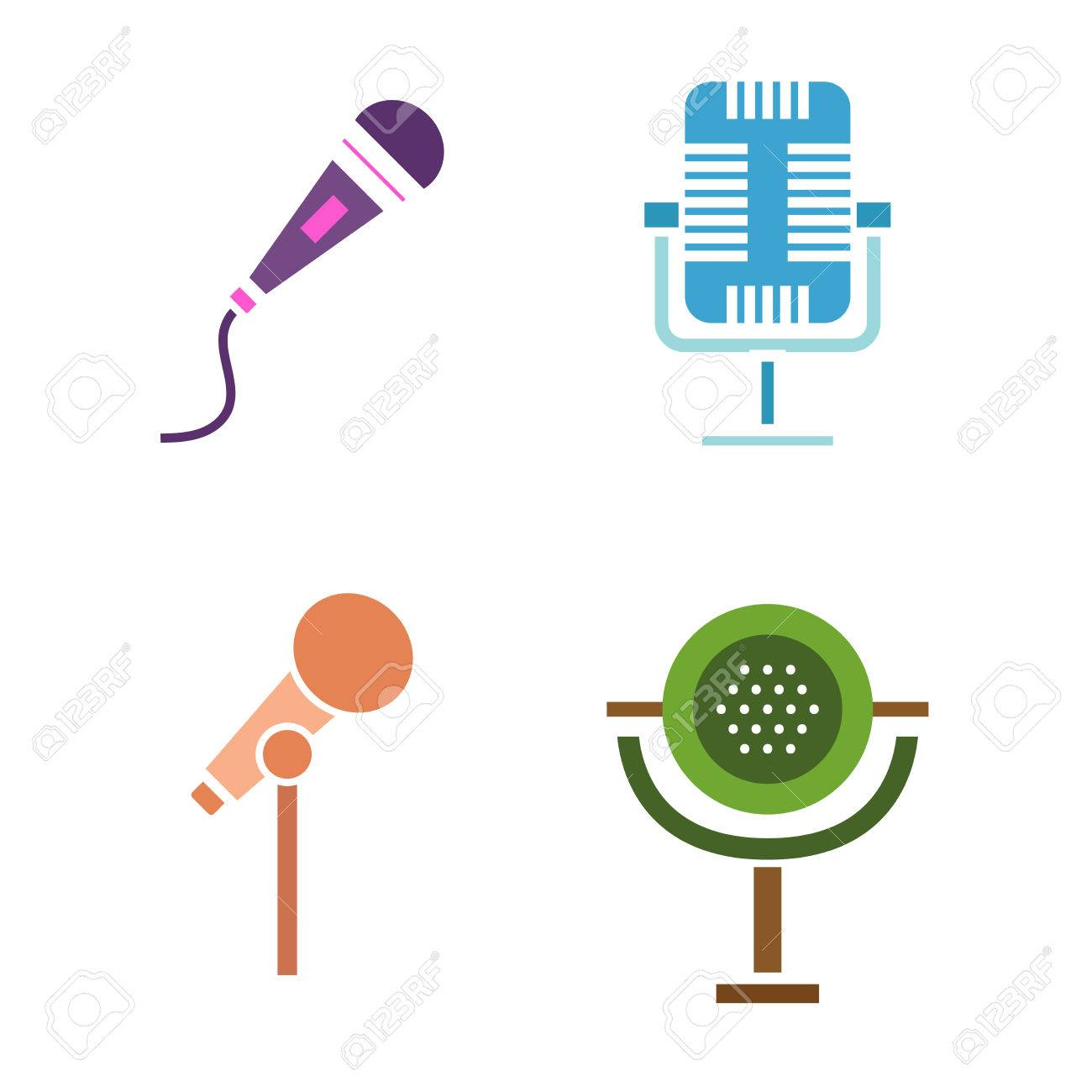 different microphones types icons journalist vector microphone different microphones types icons journalist vector microphone interview music studio web broadcasting