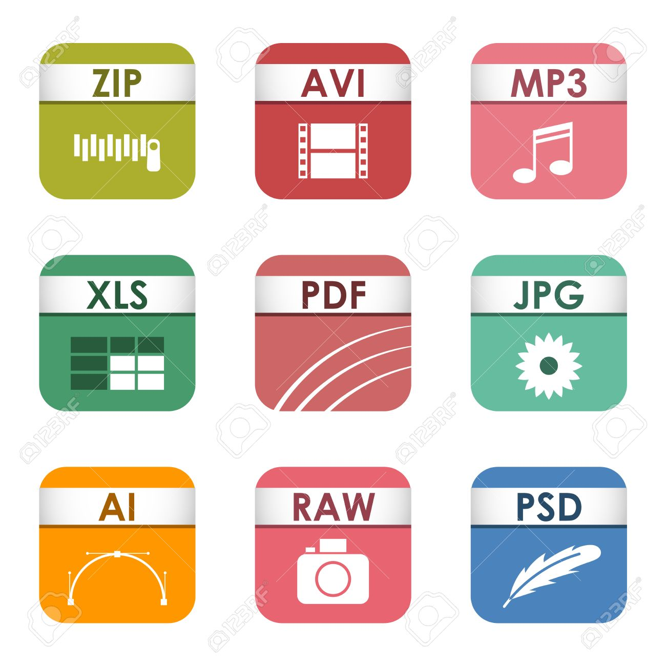 simple vector square file types and formats labels icon set