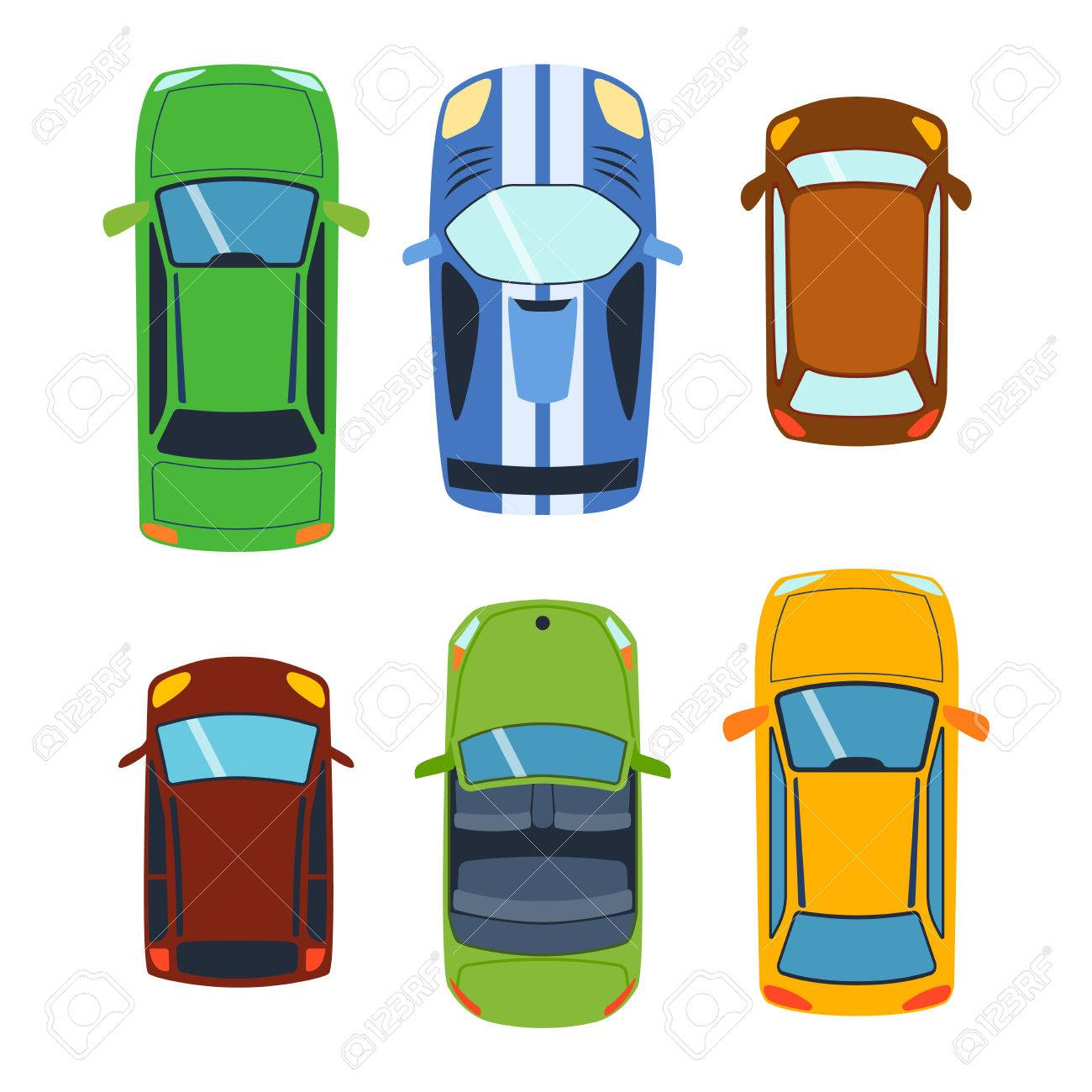 Vector Car Vehicle Set Icon Top View From Above Car Top View