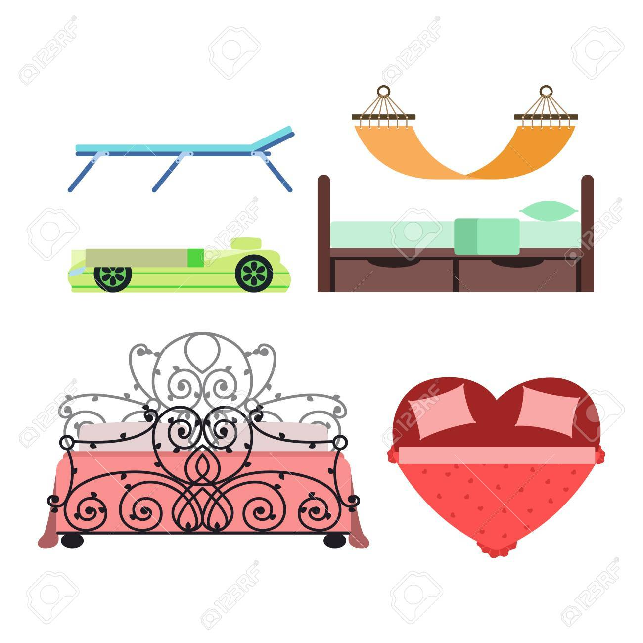Vector Bed Icon Interior Home Rest Bed Vector Sleep Furniture  # Bedtime Muebles