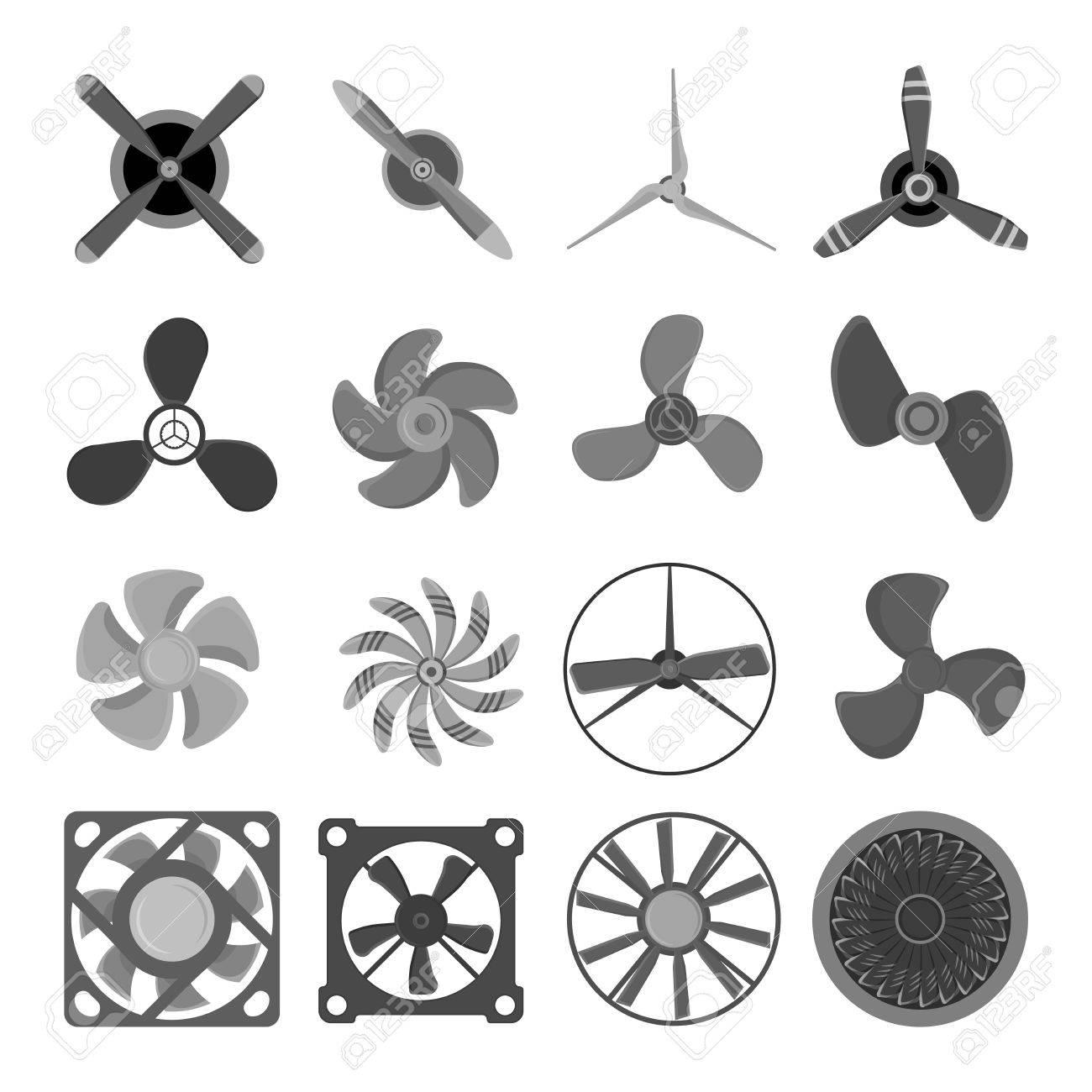 Turbinas Iconos Ventilador De Hélice Equipos De Tecnología