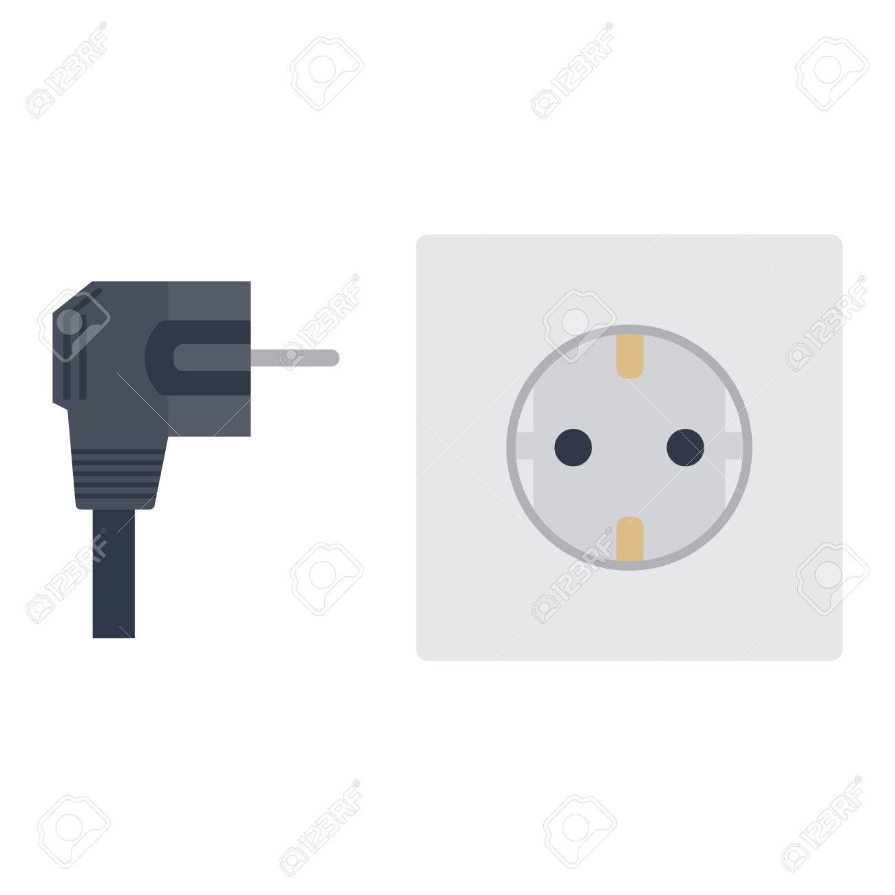 Electric Outlet Illustration On White Background Energy Socket Wiring Cable Electrical Plug Appliance Interior Icon