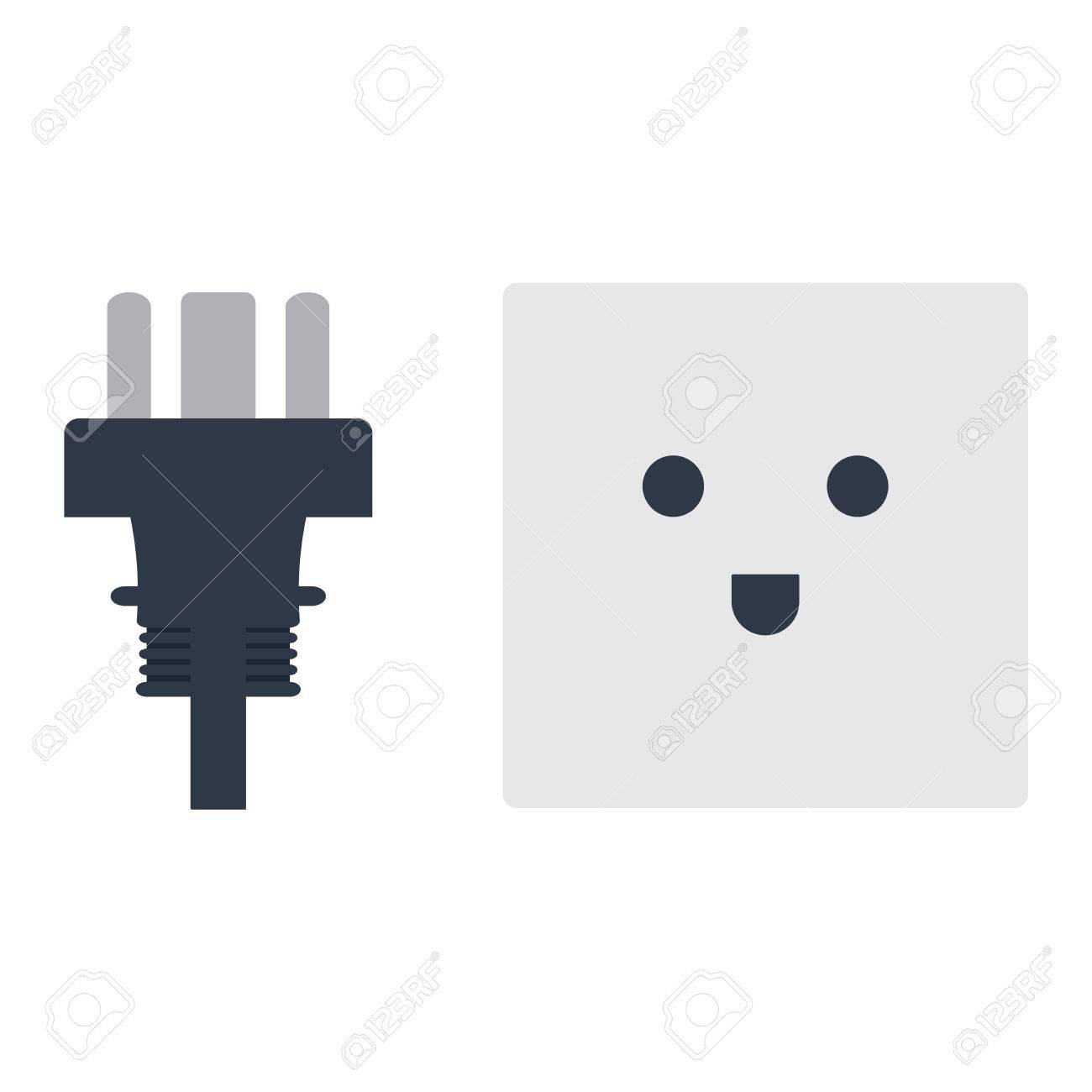 Electric Outlet Illustration On White Background. Energy Socket ...