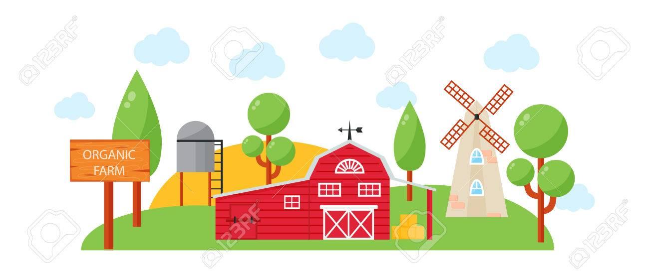 Farm House Concept Colored Template With Farm Landscape. Village ...
