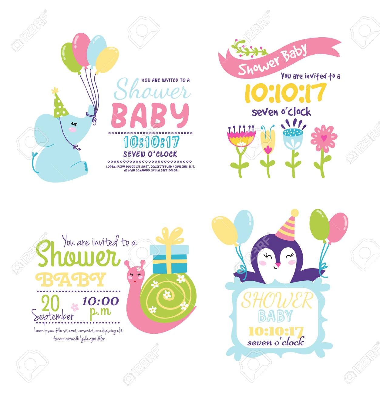 Baby shower invitation card vector graphic party template vintage baby shower invitation card vector graphic party template vintage cute birth baby shower invitation stopboris Gallery