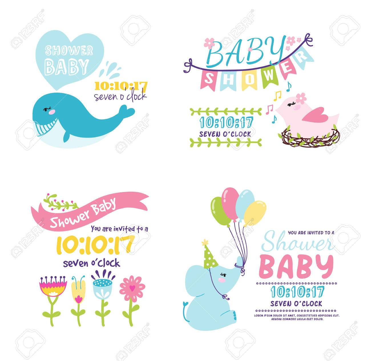 baby shower invitation card vector graphic party template vintage