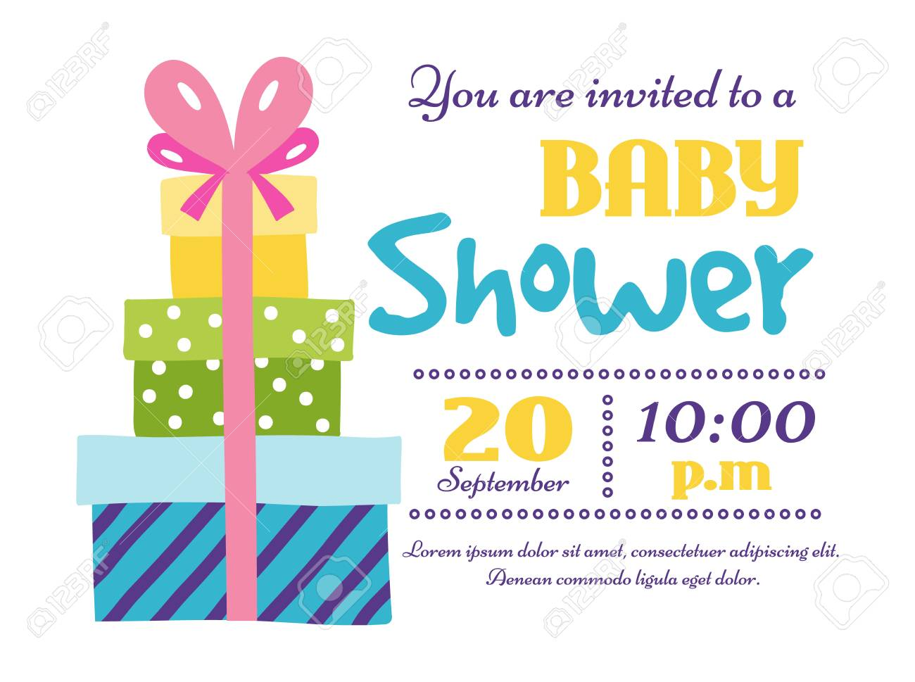 Baby Shower Invitation Card Vector Graphic. Party Template Vintage ...
