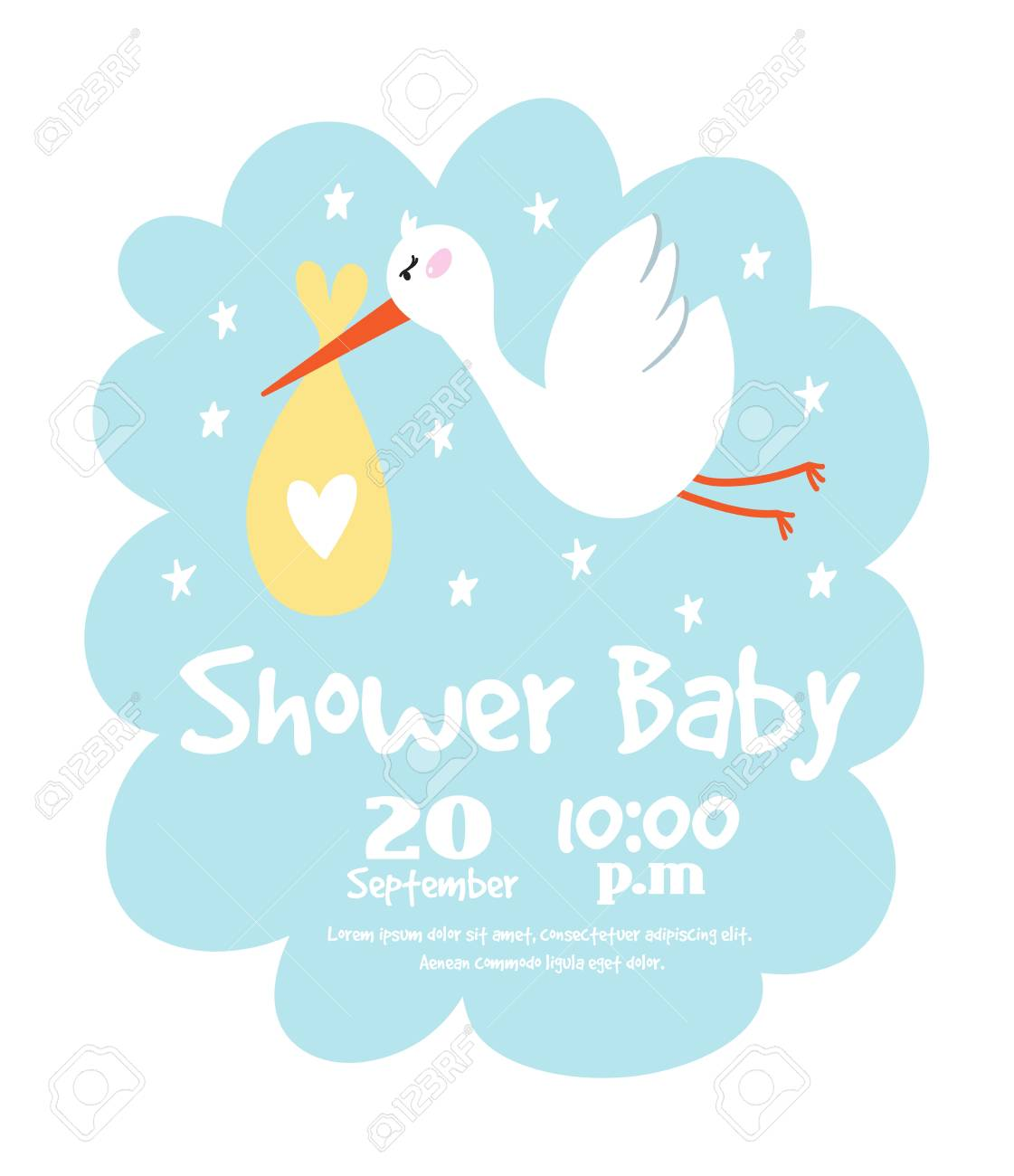 baby shower invitation card vector graphic party template vintage rh 123rf com clipart for baby shower invitations