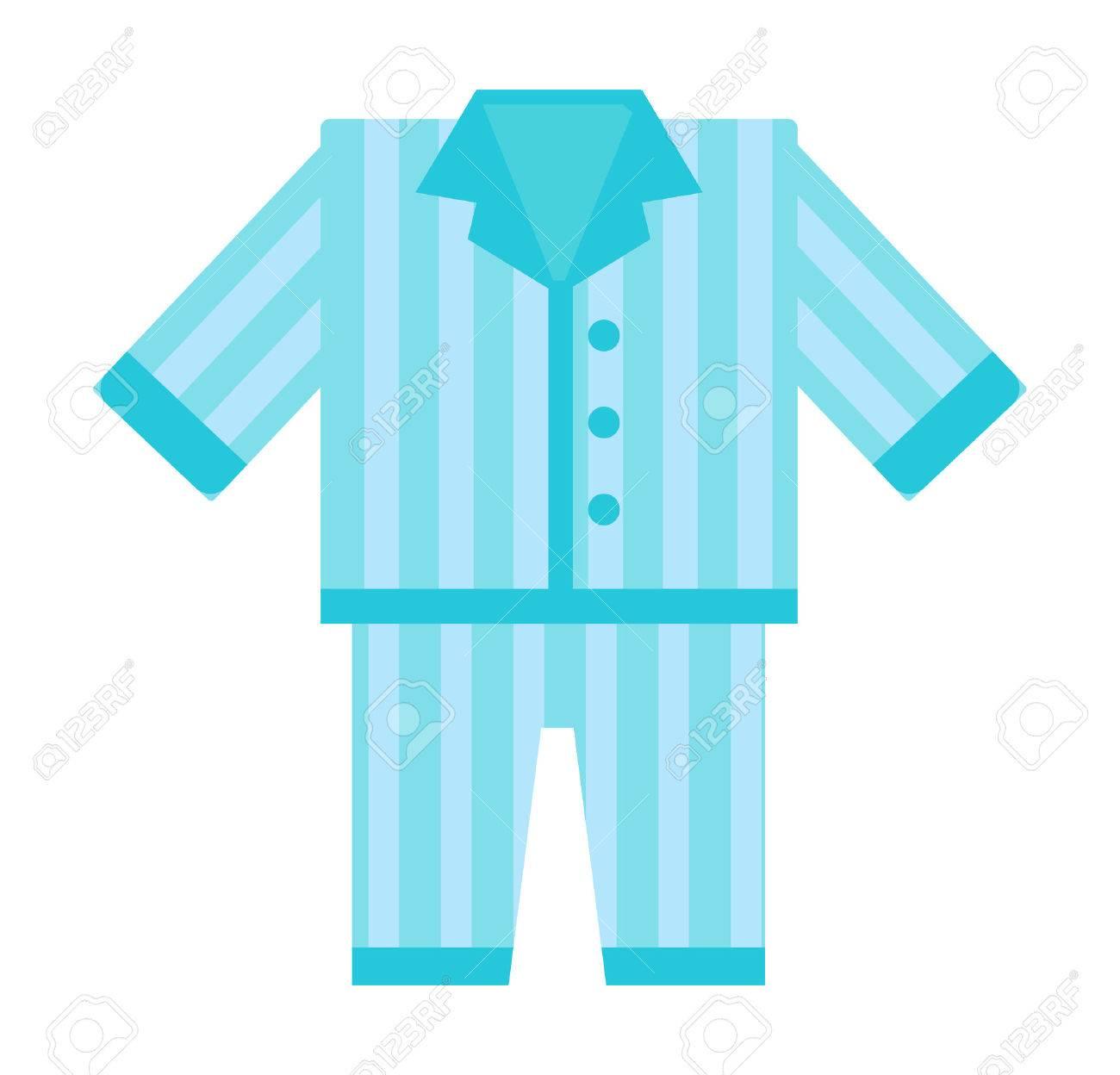 Fashion kid art comfort blue pajamas doodle vector. Sleep morning pajamas clothes cute bed female lifestyle illustration. Casual nightwear teenage pajamas cartoon clothing design. - 63722852
