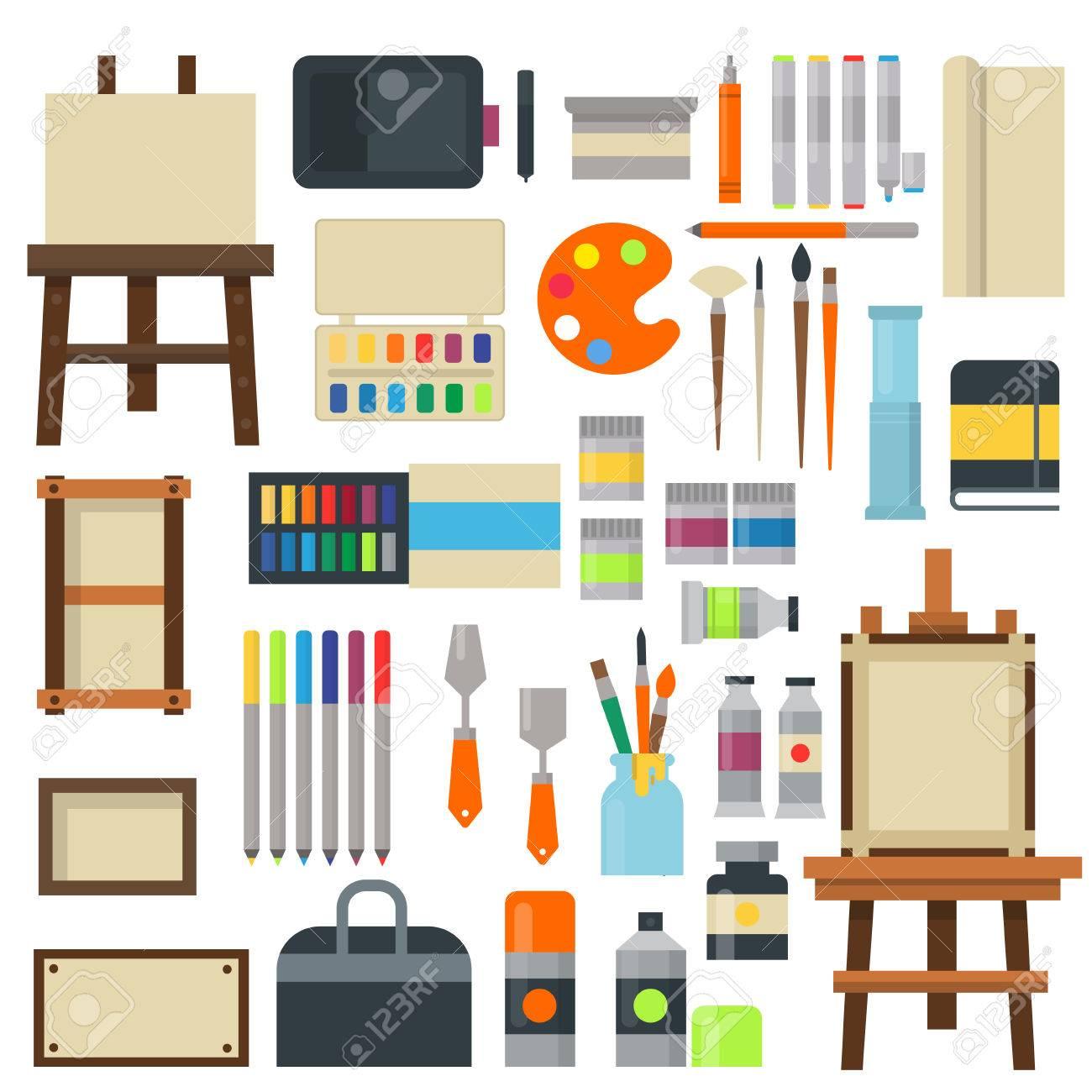 creative furniture icons set flat design. Set Of Art Icons In Flat Design Creativity Silhouette Tube Vector Illustration. Collection Paint Brush Creative Furniture S