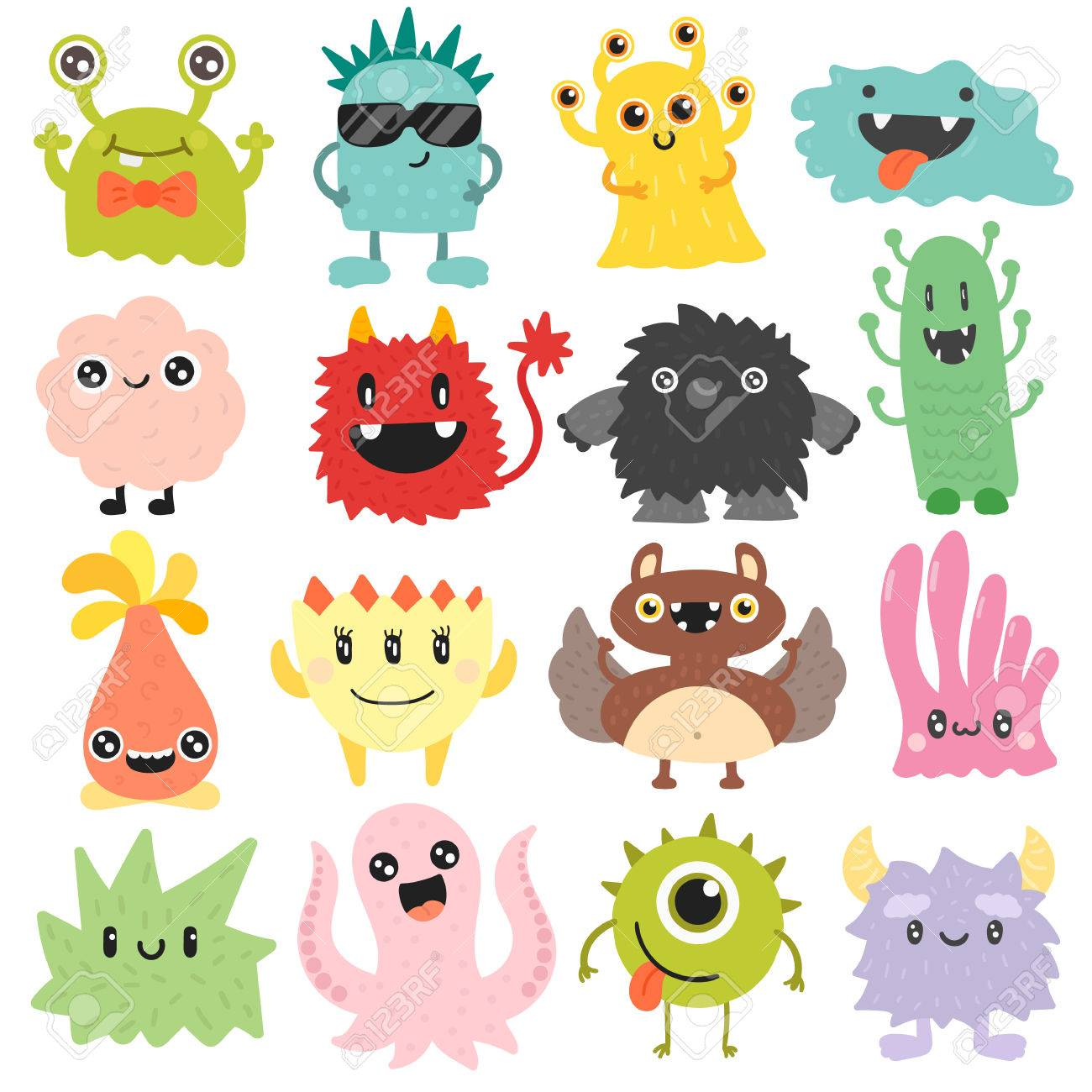 cute monster color character funny design element humour emoticon