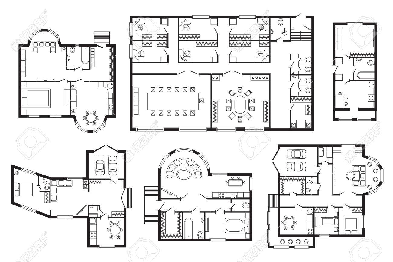 Modern Office Architectural Plan Interior Furniture. Vector Architectural  Plan Construction Design Drawing Project. Architectural