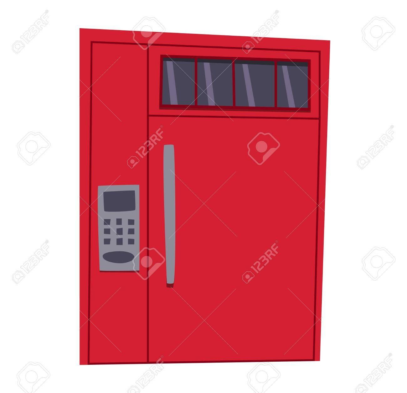 Bank Safe Tür Isoliert Auf Weiß. Bunte Haustür Zu Haus Und Gebäude ...