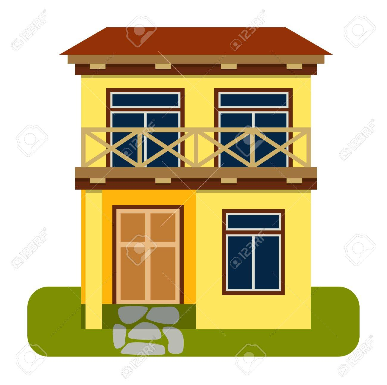 House front view vector illustration house flat style modern constructions vector house front facade