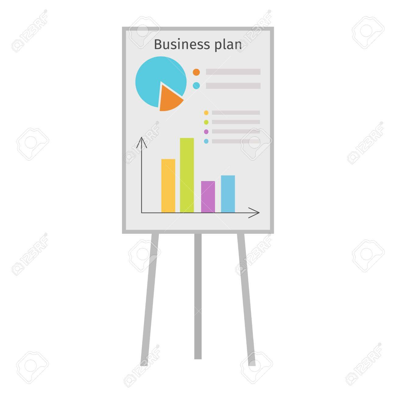 business graph date chart on whiteboard flipchart icon business