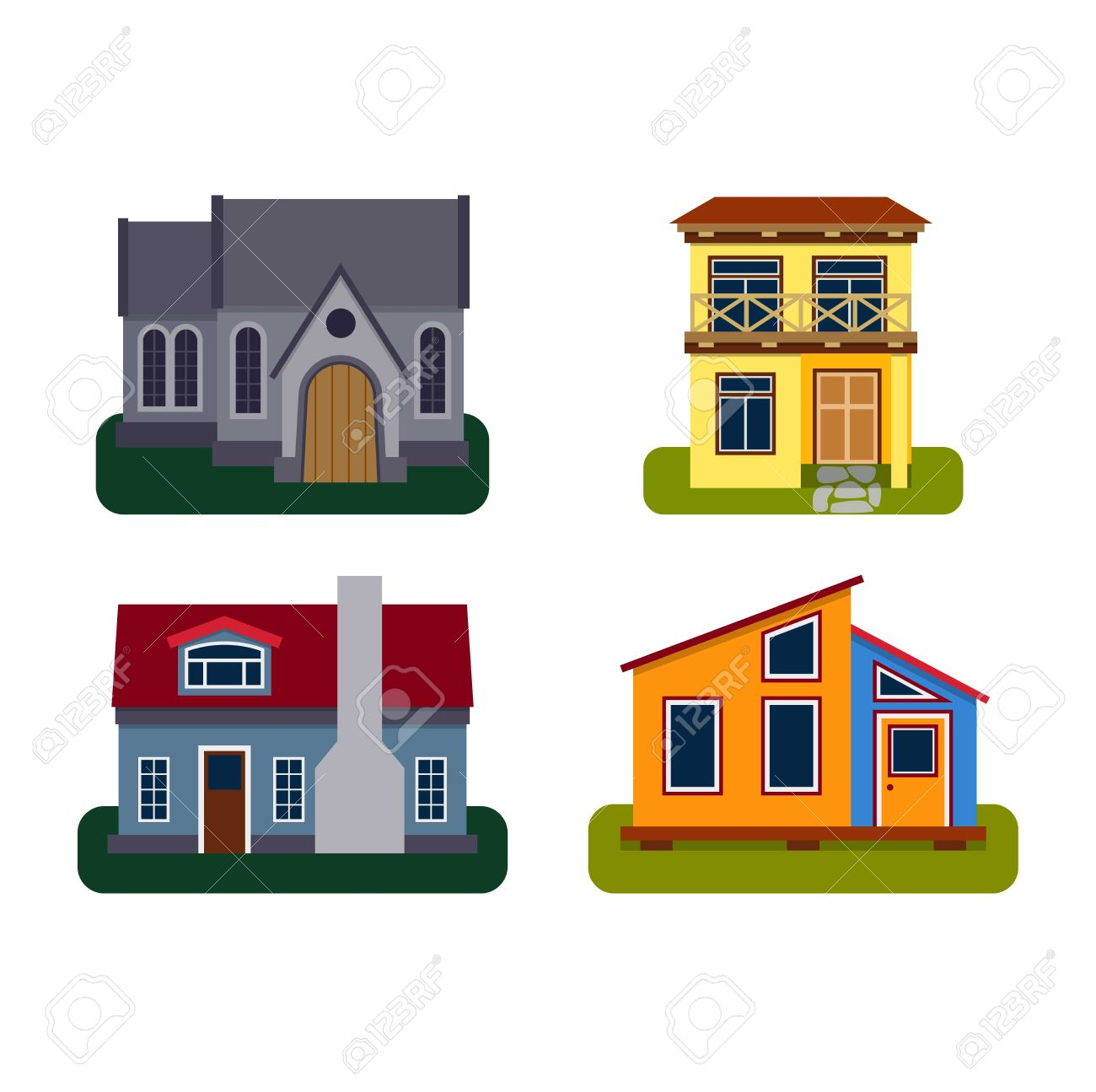Houses Front View Vector Illustration Houses Flat Style Modern