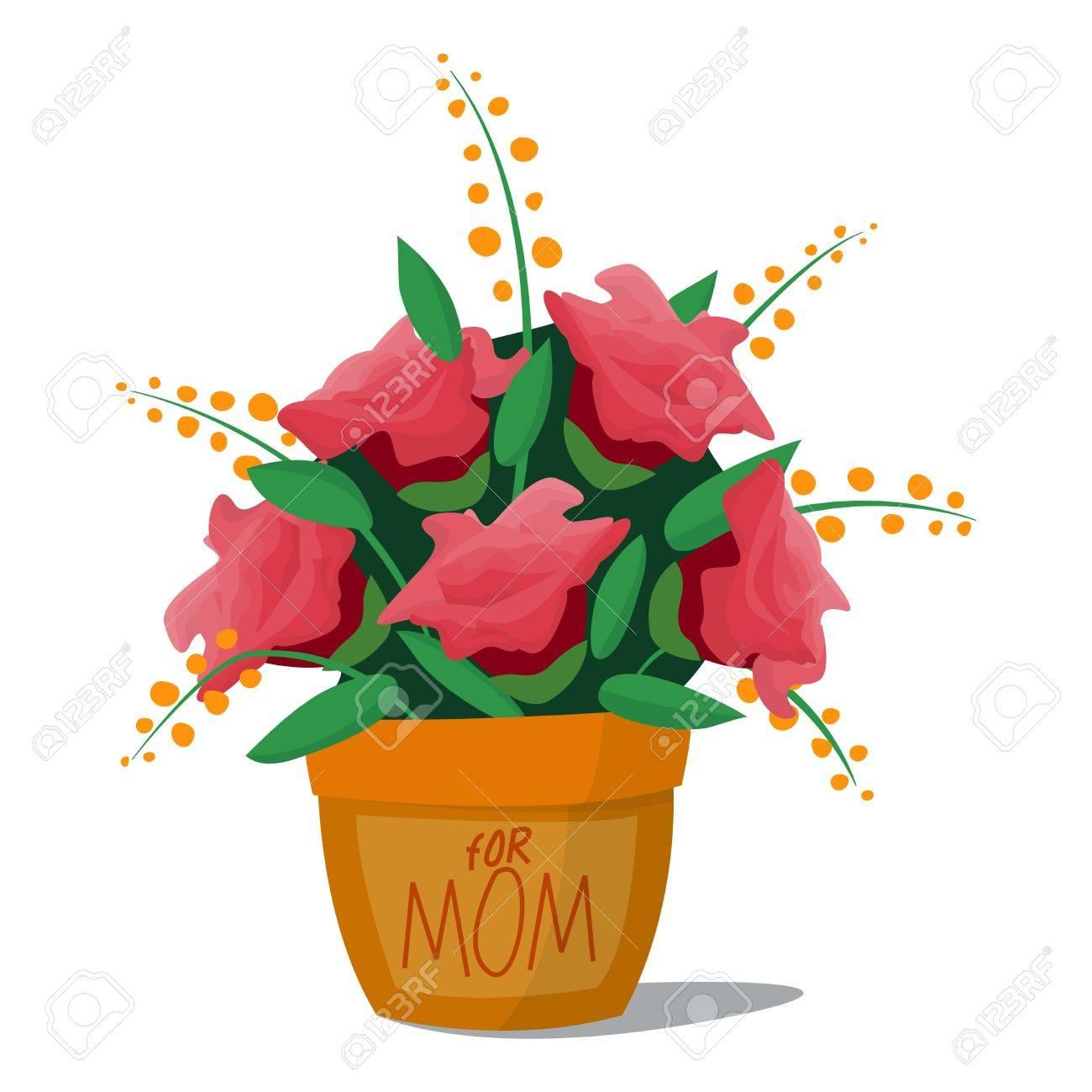 Roses Basket Bouquet Cartoon Vector Illustration. Colorful Flower ...