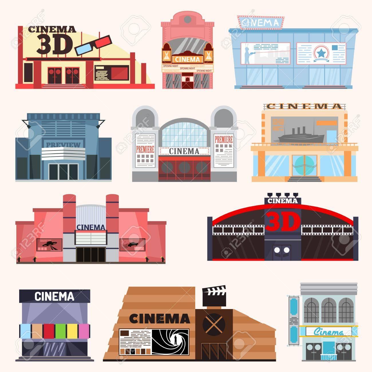 Kino Gebäude Vektor-Illustration. Kino Gebäude Vektor Fassade Film ...