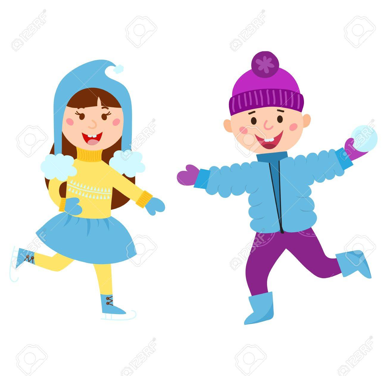 christmas kids playing winter games skate dresses up