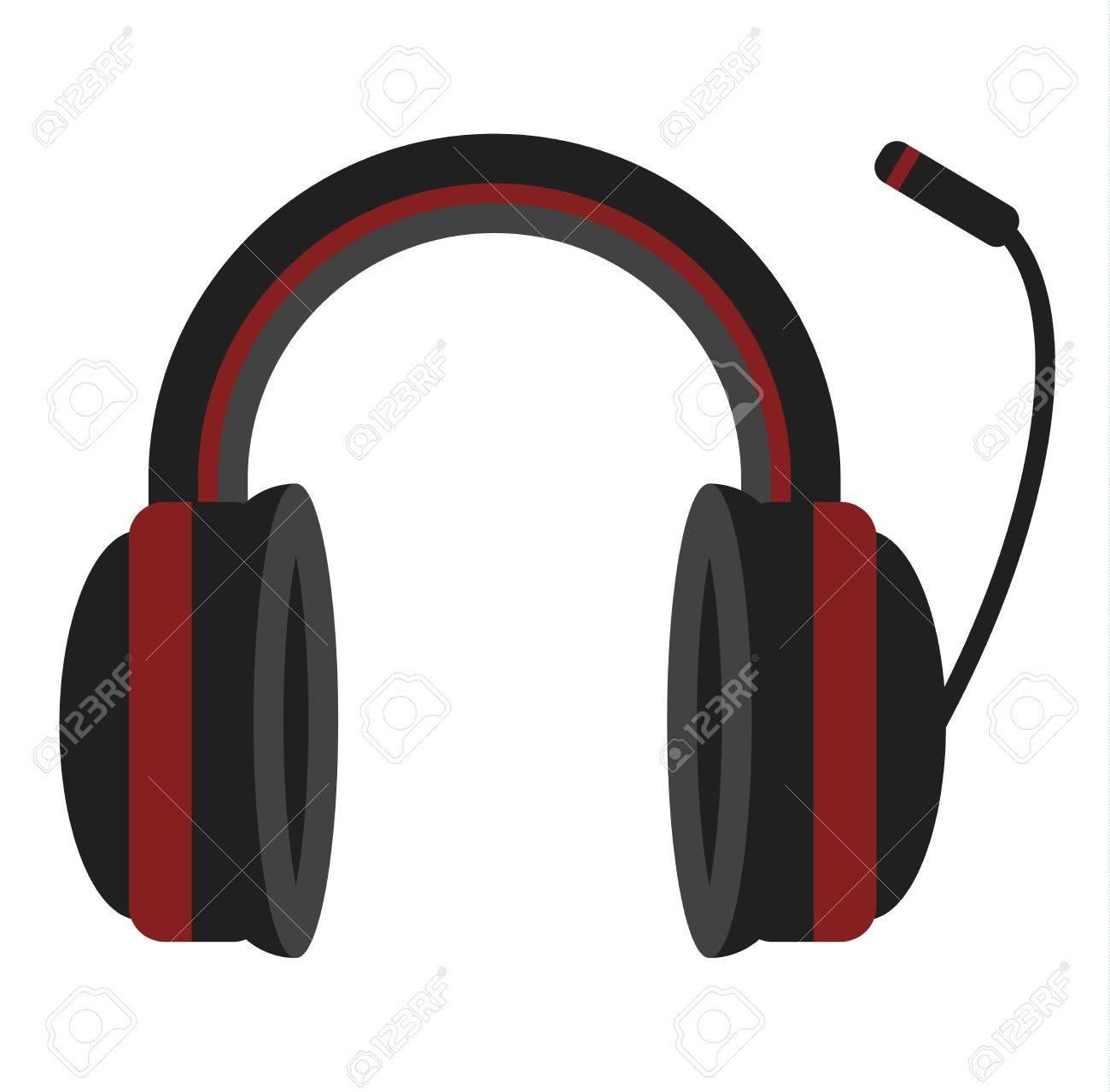 Casque radio illustration vectorielle. Musique écouteurs équipement de divertissement numérique isolé sur fond blanc. Son écouter technologie de