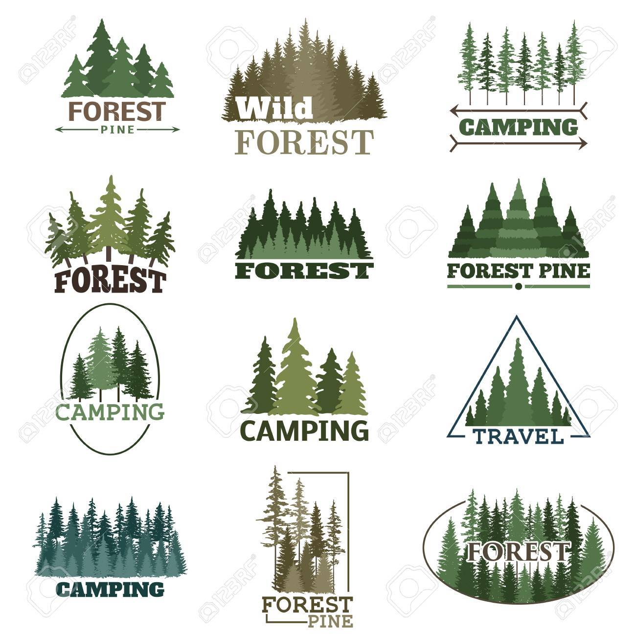 hand drawn forest logo badge set retro collection of outdoor