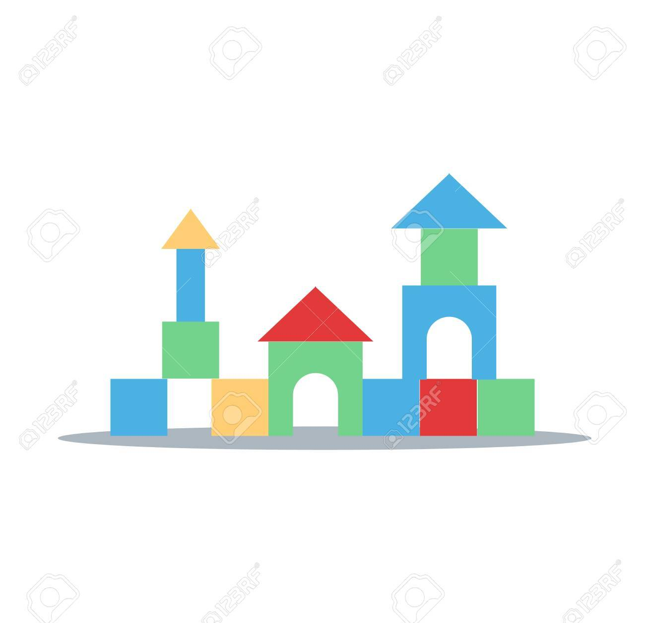 colorful toy blocks children enjoy to build and creates themselves rh 123rf com building flat design vector building structure design vector