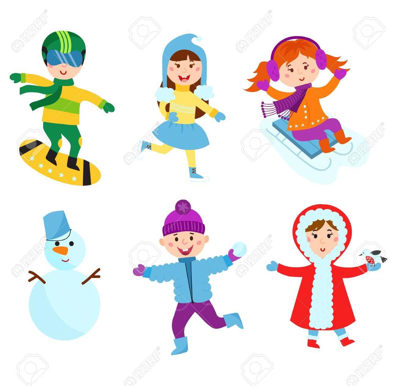 Navidad Ninos Que Juegan Juegos De Invierno En Trineo Vestidos De