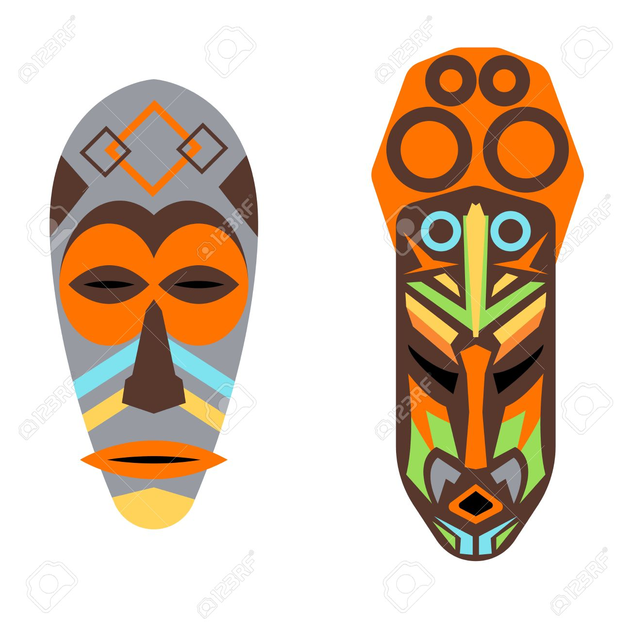 Wooden Painted African Mask Isolated Over White Culture Tribal