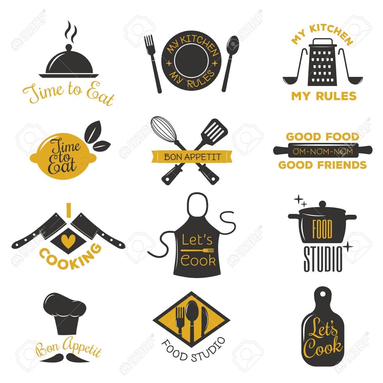Bakery shop logos, badges and labels design elements set. Bread cake cafe vintage style objects retro vector. Cooking logo badge shop restaurant stamp. Cooking logo badge typography. - 67598511