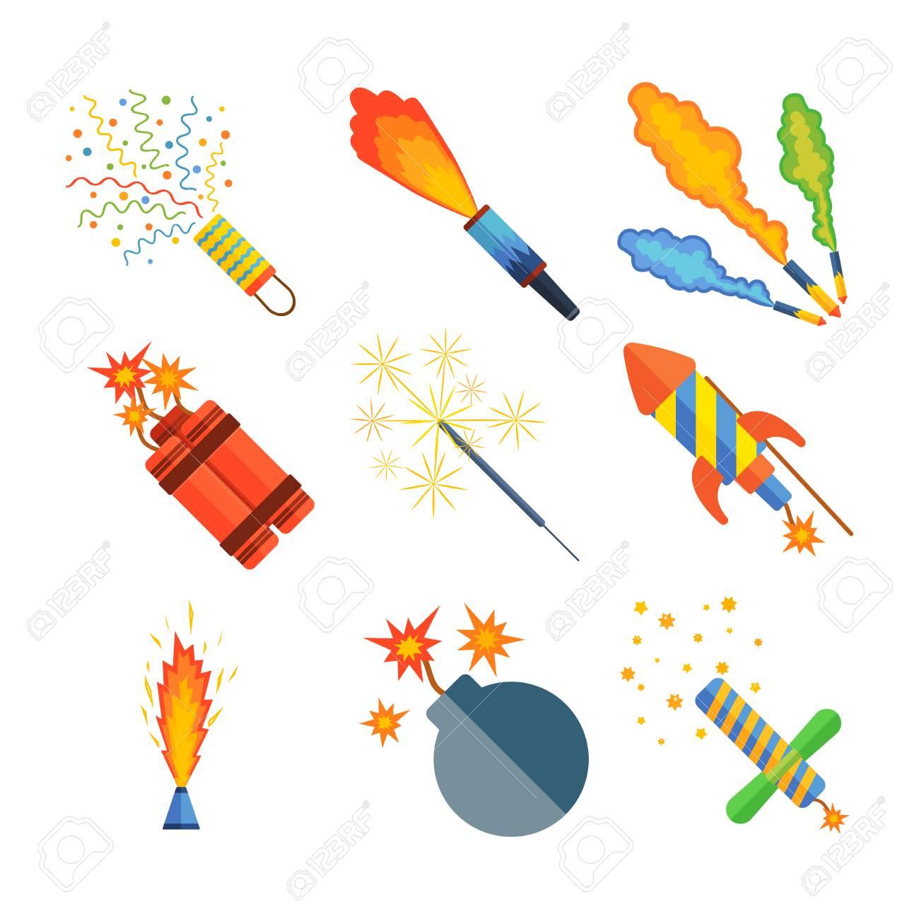 Cohetes Pirotecnicos Vector Ilustracion De Fuegos Artificiales