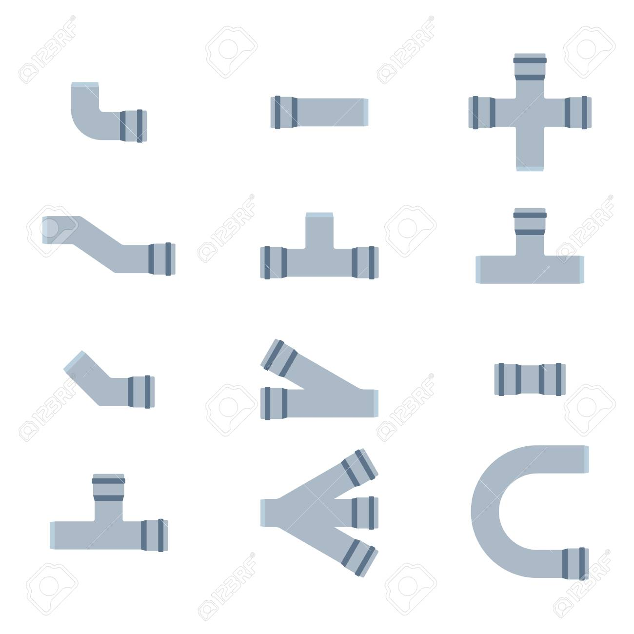 Details Pipes Different Types Collection Vector Set Of Water