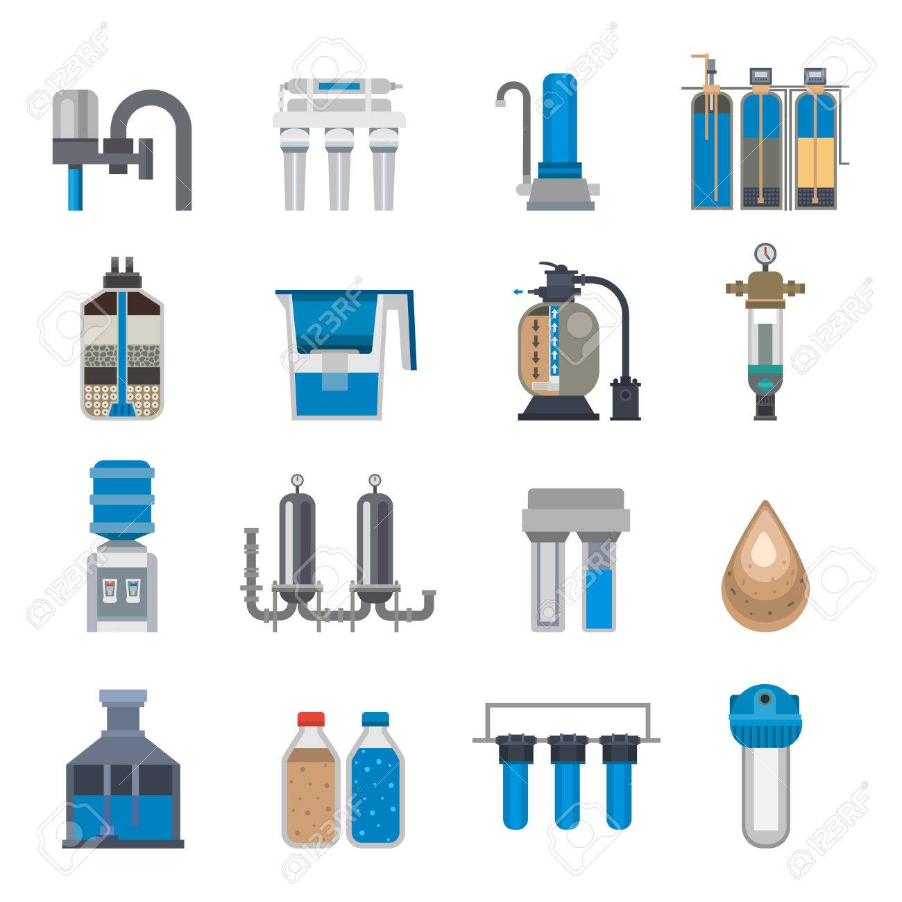Water filtration icons vector illustration. - 70935067