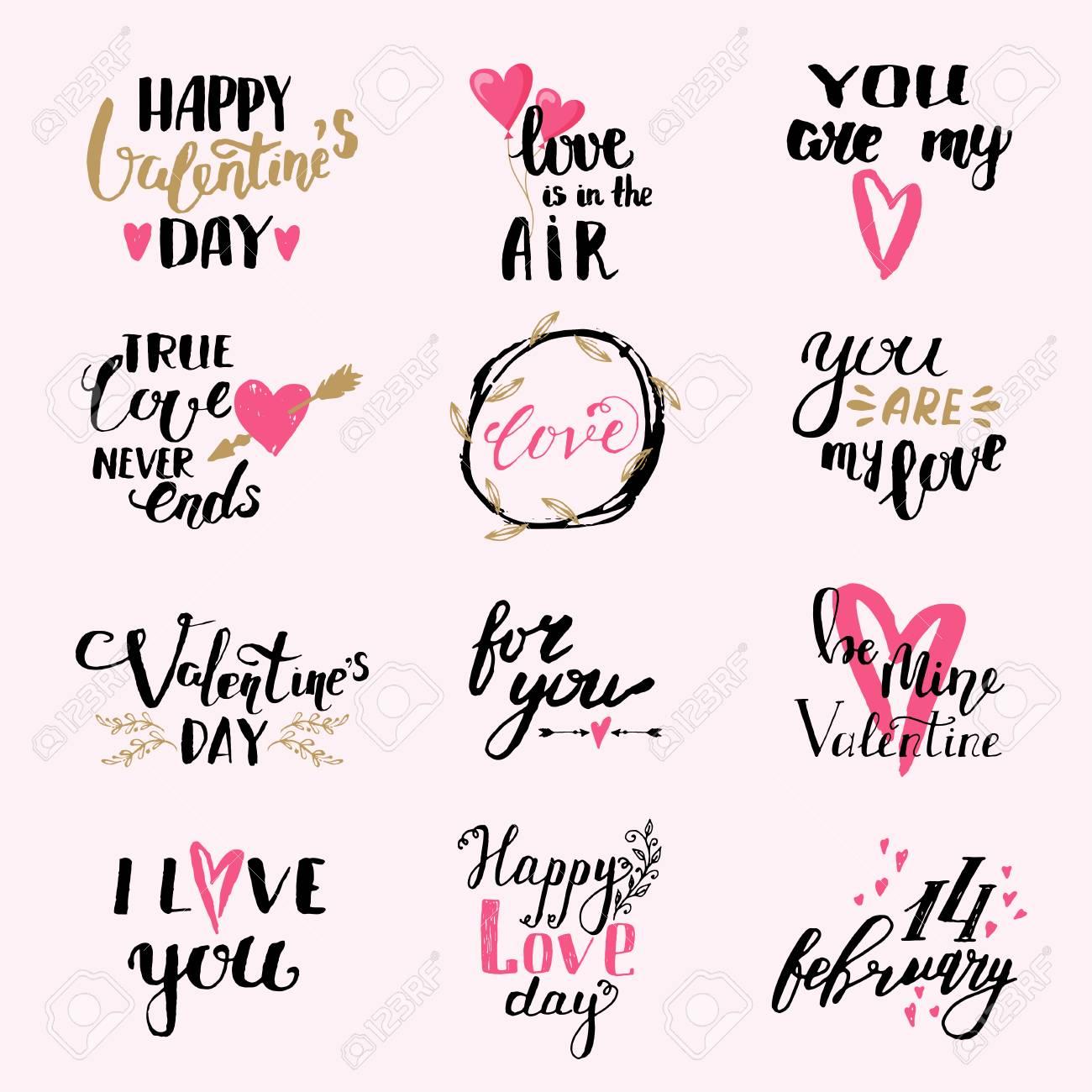 I Love You Frases Conjunto De Vectores De Diseño De Impresión De San Valentín