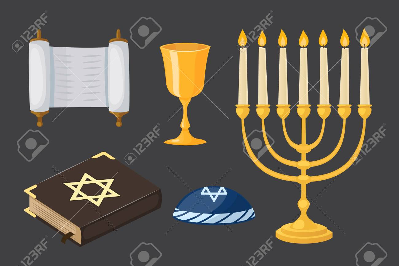 Judaism Church Traditional Symbols Icons Set Isolated Hanukkah