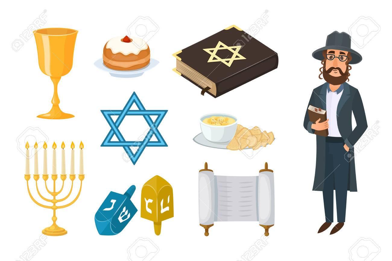 Judaism Church Traditional Symbols Isolated Hanukkah Religious