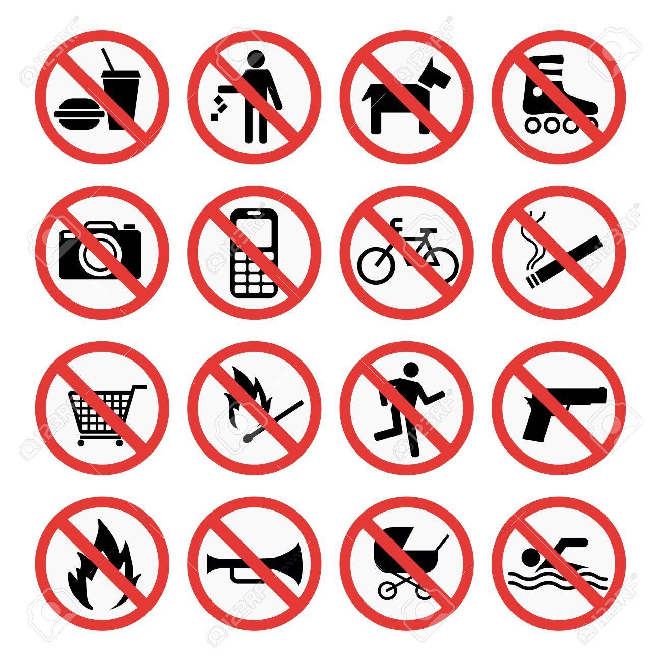 Prohibition signs set safety information vector illustration. - 74099034