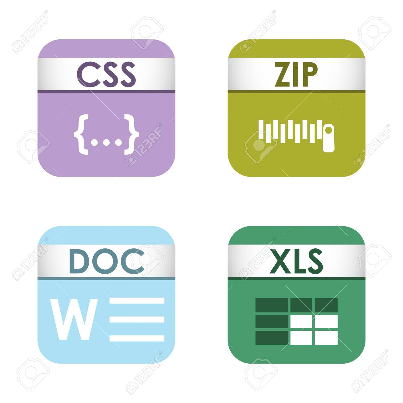 simple square file types formats labels icon set presentation