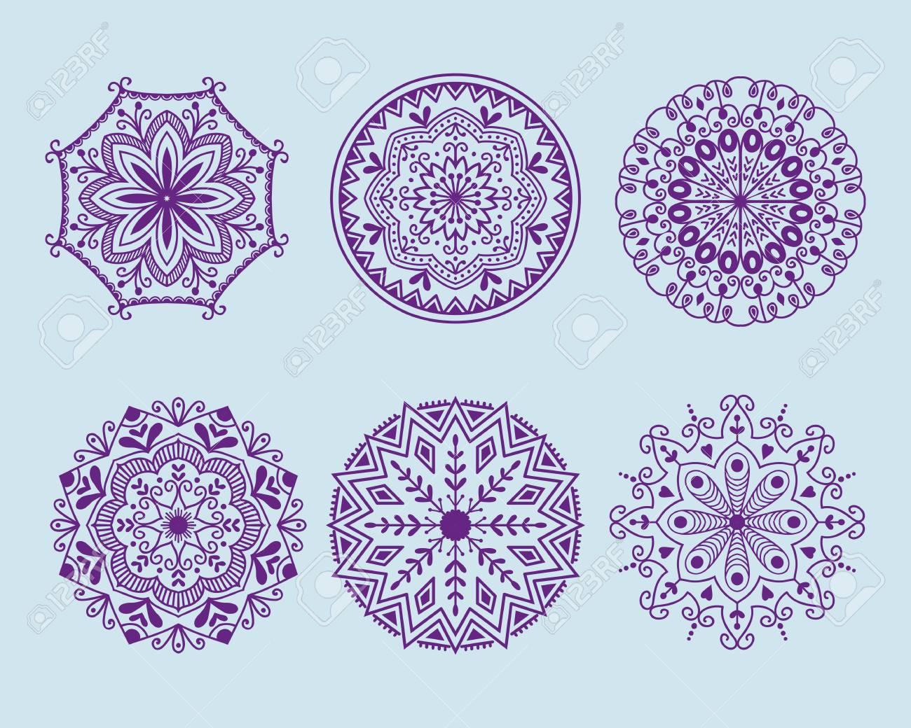 dekoratives element der henna-tätowierung mehndi blumenschablonen
