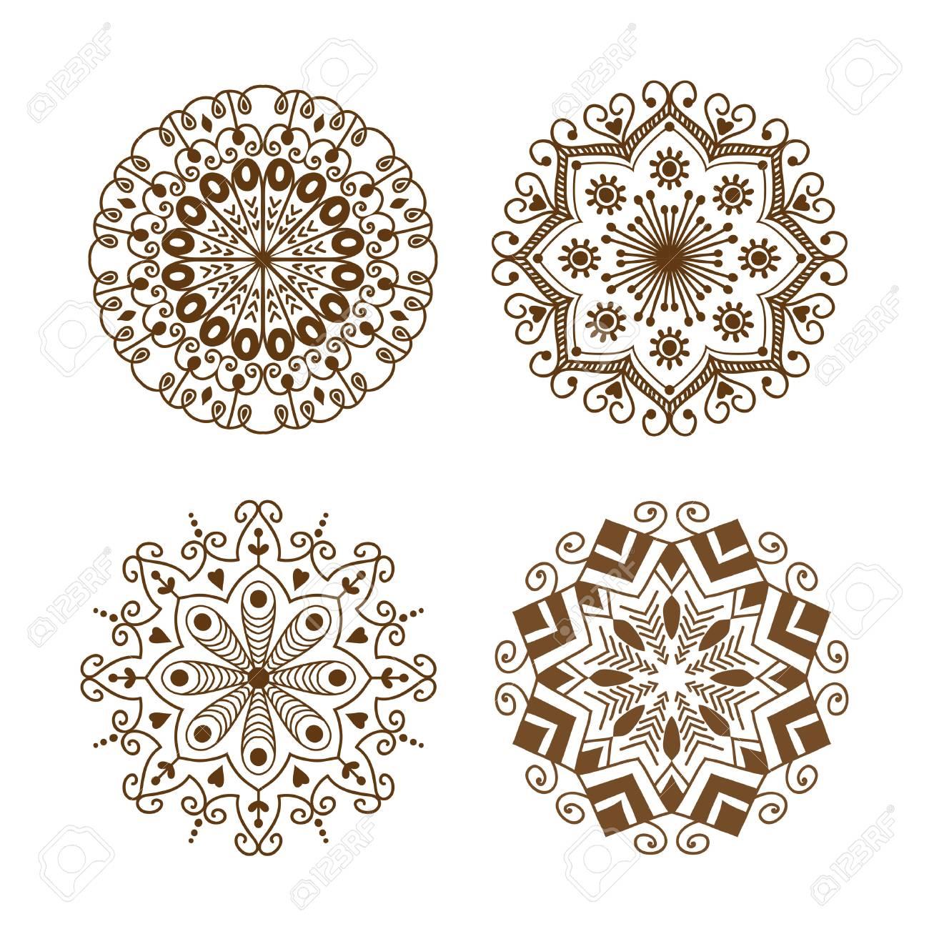 dekoratives element der henna-tätowierungsbraun-mehndi