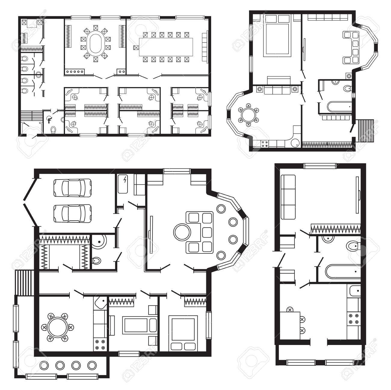 Mobilier D\'intérieur Moderne De Plan Architectural De Bureau Et ...
