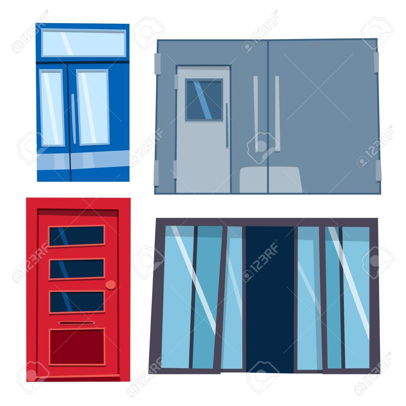 Farbe Tür Vor Haus Zu Hause Und Gebäude Flache Design-Stil Isoliert ...