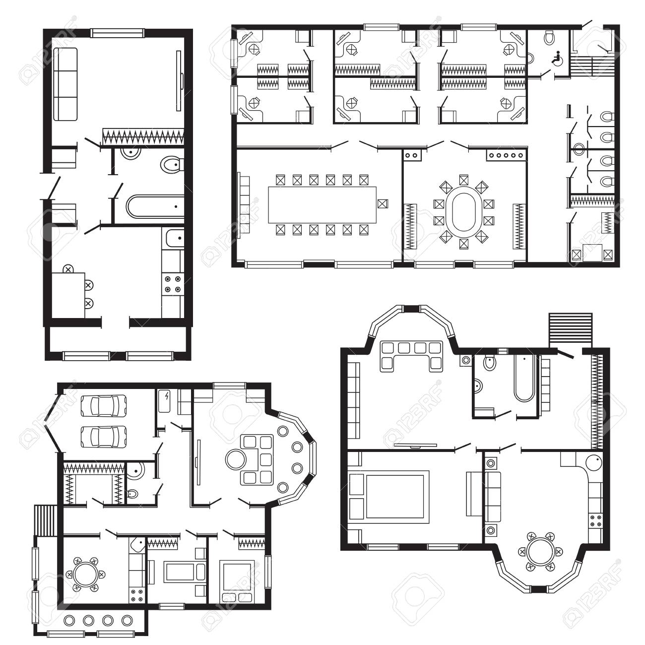 Modern Office Architectural Plan Interior Furniture And Construction