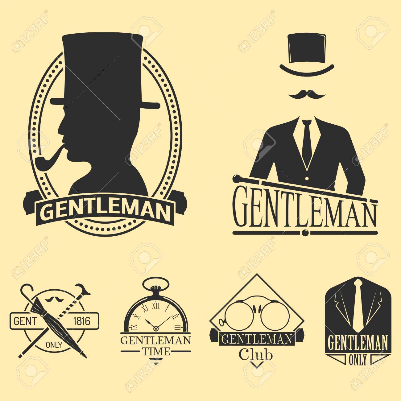 93f50ff0954a2b Vector - Vintage style design hipster gentleman vector illustration badge  black silhouette element.