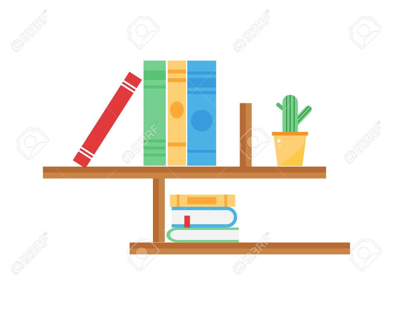 Library Bookshelf Room Decor Children Bedroom Interior Education School  Knowledge Furniture Vector. Stock Vector