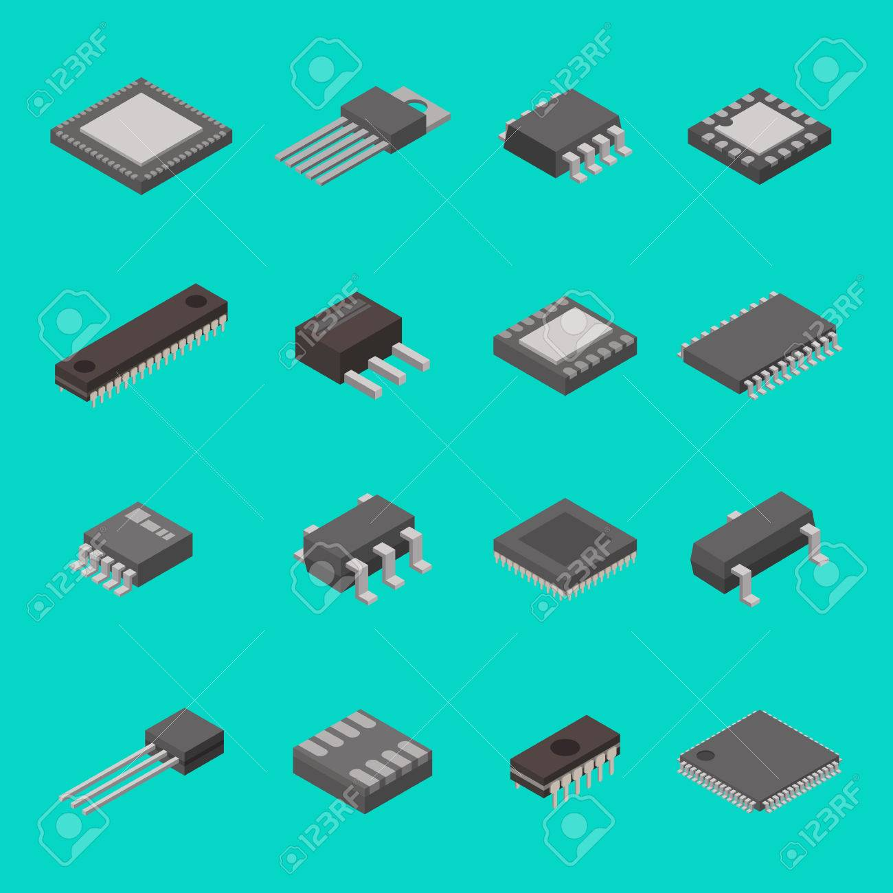 Isolated microchip semiconductor computer electronic components isometric icons vector illustration - 77664920