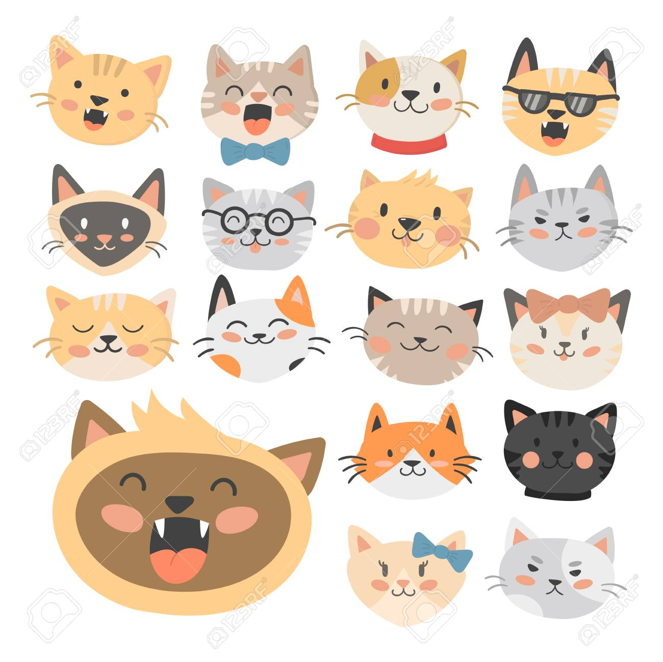 猫頭イラストかわいい動物面白い飾り文字猫国内流行ペット描画 の写真素材 画像素材 Image
