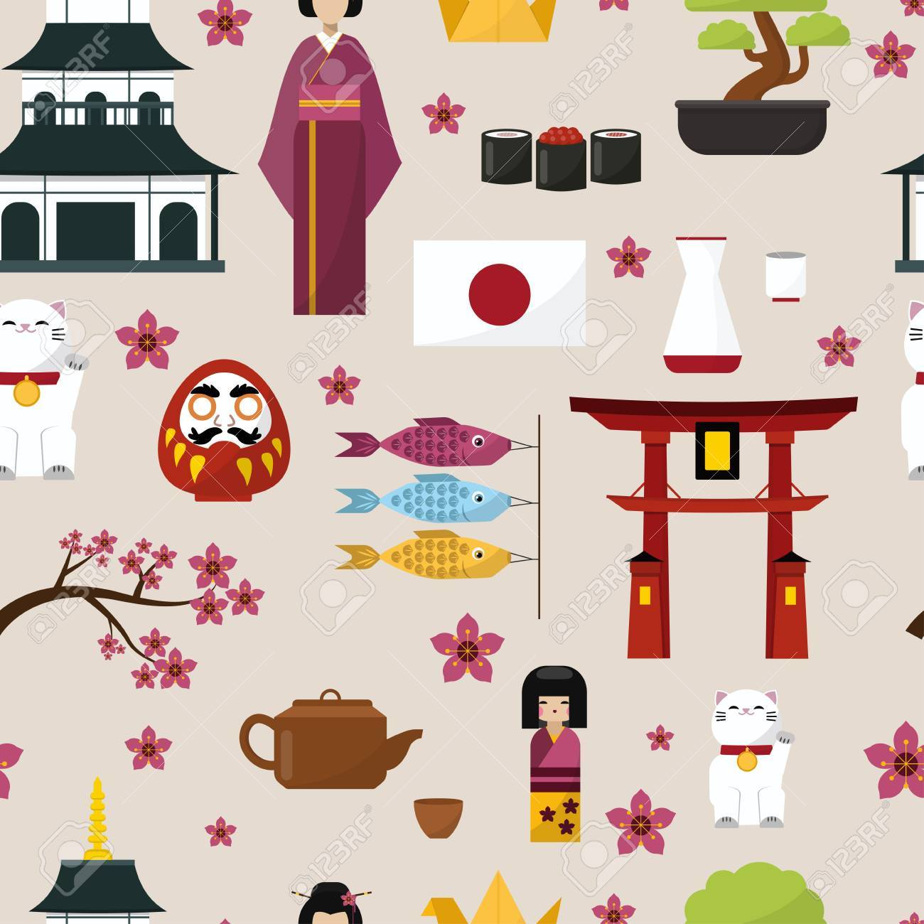 Japan famous culture architecture buildings and japanese traditional food vector icons of travel vacation. - 81127153