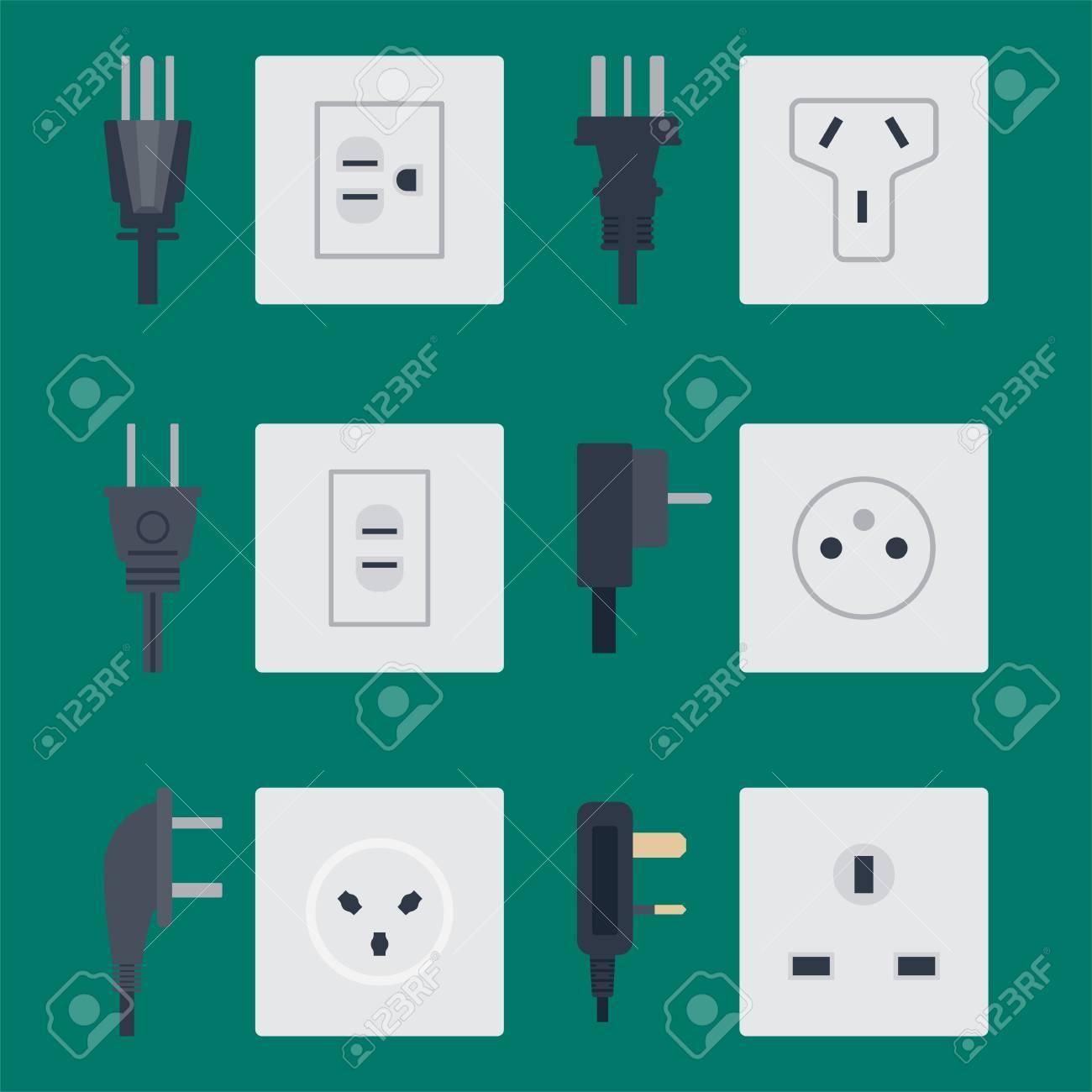 Elektrische Steckdose Vektor-Illustration Energie Steckdose ...