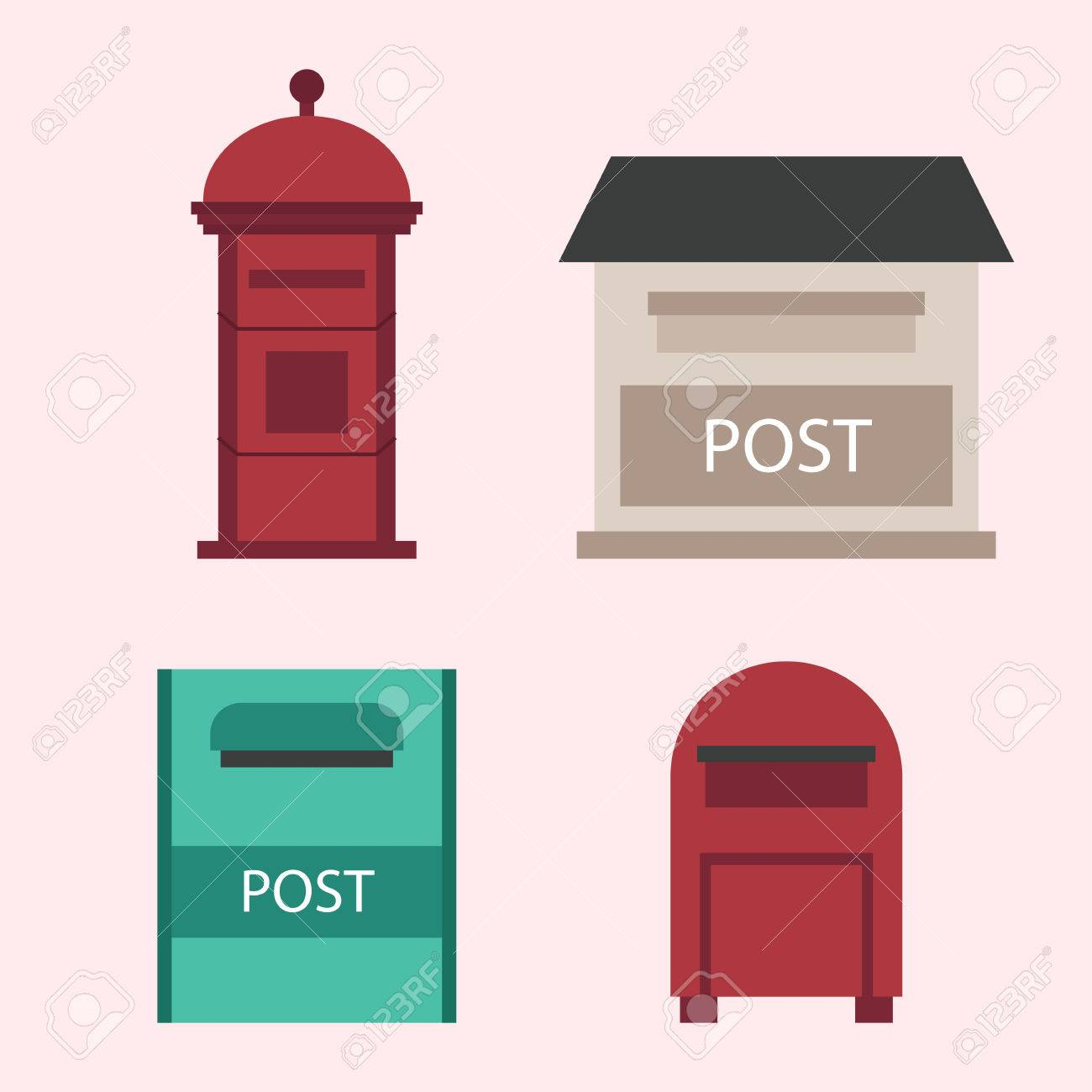 closed mailbox. Beautiful Rural Curbside Open And Closed Mailboxes With Semaphore Flag Postbox Vector Illustration. Traditional Communication Mailbox